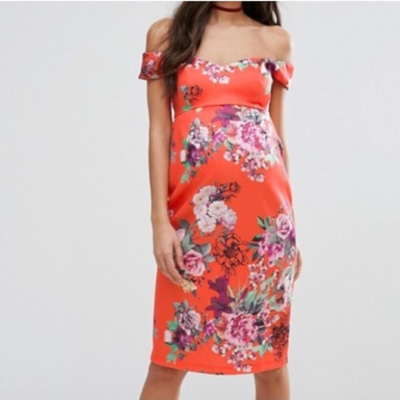 2cded060966b5 ASOS Dresses | Maternity Red Floral Off Shoulder Dress | Poshmark